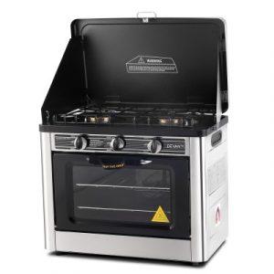 Devanti 3 Burner Portable Gas Oven and Stove - Silver & Black PGO-01-SS-BK