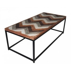 Wooden Coffee Table Contemporary Home Living Room or Office Wooden top Metal Frame V48-20170309