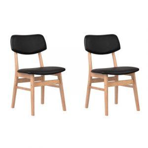 Artiss Set of 2 Wood & PVC Dining Chairs - Black BENT-C-8009-BKX2