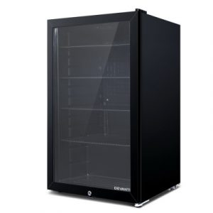 Devanti 98L Bar Fridge Glass Door Mini Freezer Fridges Countertop Beverage Commercial BF-D-98L-BK