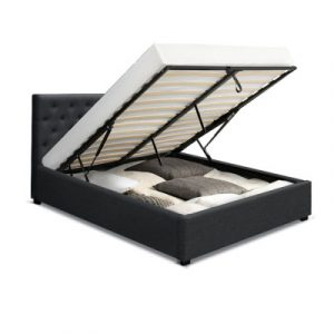 Artiss VILA Queen Size Gas Lift Bed Frame Base With Storage Charcoal BFRAME-E-VILA-Q-CHAR-AB
