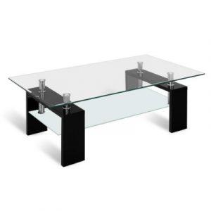Artiss 2 Tier Glass Coffee Table - Black DINING-B-T11-BK