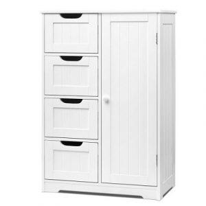 Artiss Bathroom Tallboy Storage Cabinet - White FURNI-G-BATH-5078-WH