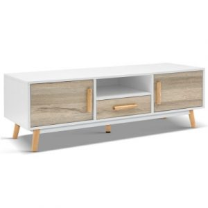 Artiss Wooden Entertainment Unit - White & Wood FURNI-G-CHIC-TV-WH-WD
