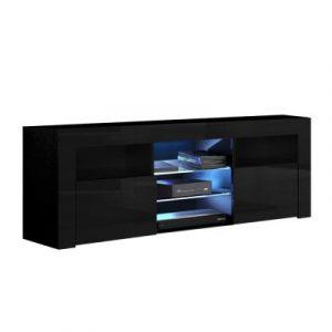 Artiss 145cm RGB LED TV Cabinet Entertainment Unit Stand Gloss Furniture Black FURNI-L-LED-TV02-BK-AB