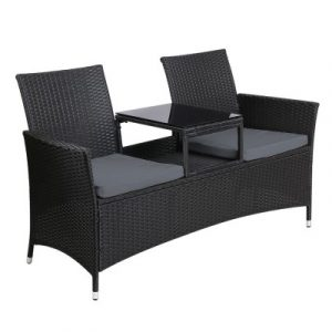 Gardeon Outdoor Furniture Chair Bench Sofa Table 2 Seat Cushions Wicker Black ODF-FORRES-GLS-BK