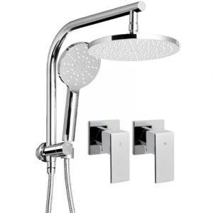 WELS Round 9 inch Rain Shower Head and Taps Set Bathroom Handheld Spray Bracke SHOWER-A1-RO-9-SI-TAP