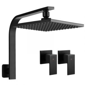 Cefito WElS 8'' Rain Shower Head Taps Square High Pressure Wall Arm DIY Black SHOWER-A3-SQ-8-BK-TAP