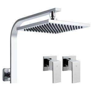 Cefito WELS 8'' Rain Shower Head Taps Square High Pressure Wall Arm DIY Chrome SHOWER-A3-SQ-8-SI-TAP