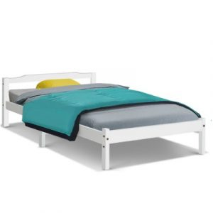 Artiss Single Size Wooden Bed Frame Mattress Base Timber Platform White WBED-C-001S-92-WH