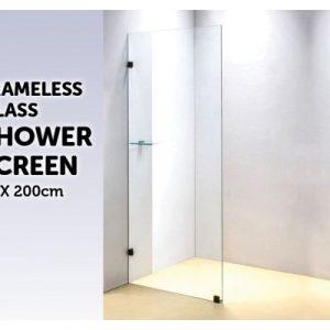 700 x 2000mm Frameless 10mm Safety Glass Shower Screen V63-822091