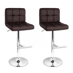 Artiss 2x Gas Lift Bar Stools Swivel Chairs Leather Chrome Chocolate BA-TW-NEW1055-CHOCX2