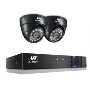 UL-tech CCTV Camera Security System 4CH 2 Dome Camera DVR HD 1080P IP Kit Day Night CCTV-4C-2D-BK
