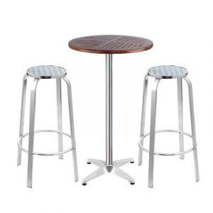 Gardeon Outdoor Bistro Set Bar Table Stools Adjustable Aluminium Cafe 3PC Wood FF-TABLESET-WOOD