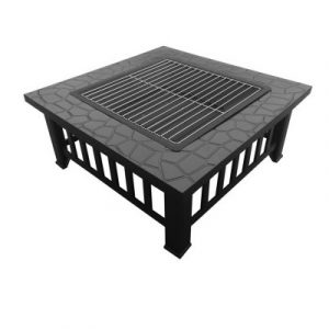 Outdoor Fire Pit BBQ Table Grill Fireplace Stone Pattern FPIT-BBQ-2IN1-STONE