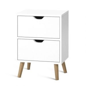 Artiss Bedside Tables Drawers Side Table Nightstand White Storage Cabinet Wood FURNI-E-SCAN-BS01-WH