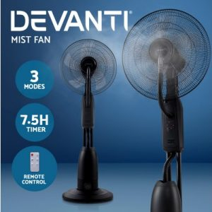 Devanti Mist Fan Pedestal Fans Cool Water Spray Timer Remote 5 Blades Black and Silver MF-RC-40-5B-SI