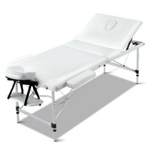 Livemor 3 Fold Portable Aluminium Massage Table - White MT-ALUM-F4-WHITE-60