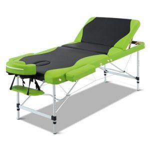 Livemor 3 Fold Portable Aluminium Massage Table - Green & Black MT-ALUM-GA301-BKLM-75