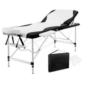Livemor 3 Fold Portable Aluminium Massage Table - Black & White MT-ALUM-GA301-BKWH-75