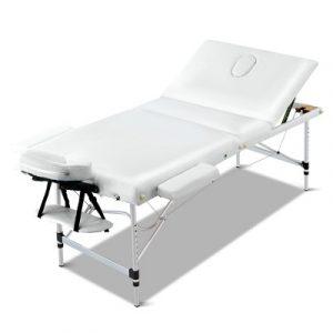 Zenses 3 Fold Portable Aluminium Massage Table - White MT-ALUM-GA301-WHITE-75