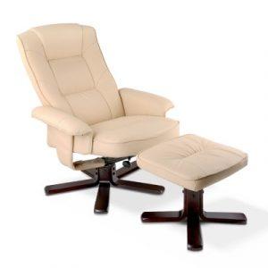 Artiss PU Leather Wood Armchair Recliner - Beige OCHAIR-G-90052-BG