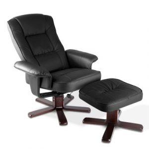 Artiss PU Leather Wood Armchair Recliner - Black OCHAIR-G-90052-BK