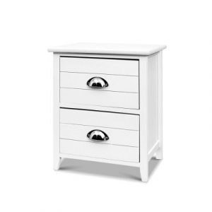 2x Bedside Table Nightstands 2 Drawers Storage Cabinet Bedroom Side White ST-CAB-2D-VIN-WHX2