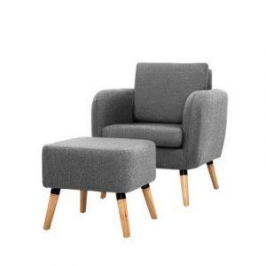 Artiss Lounge Chair Armchair with Ottoman Tub Accent Sofa Linen Fabric Grey UPHO-C-SOHO-OTM-GY
