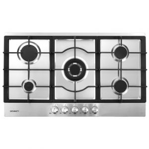Devanti 90cm Gas Cooktop 5 Burner Kitchen Stove Cooker NG/LPG Stainless Steel CT-GAS-5MB-SS