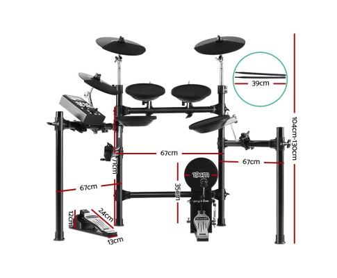 8 Piece Electric Electronic Drum Kit Drums Set Pad Tom Midi For Kids and Adults