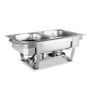 Emajin 9L Bain Marie Chafing Dish 4.5Lx2 Stainless Steel Buffet Food Stackable LF-DIN-DISH-9L-2PAN-SI
