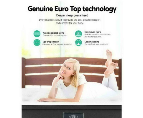 Giselle King Size Mattress 7 Zone Euro Top Pocket Spring 34cm MATTRESS-0808-K183