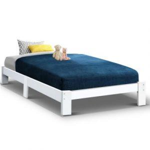 Single Wooden Bed Base Frame Size JADE Timber Foundation Mattress Platform WBED-C-040S-92-WH