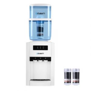 Devanti 22L Bench Top Water Cooler Dispenser Purifier Hot Cold Three Tap with 2 Replacement Filters WD-1103-22L-2FT-WH