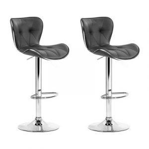 Artiss 2x Kitchen Bar Stools Gas Lift Stool Chairs Swivel Barstools Leather Grey BA-TW-NEW4045-GYX2