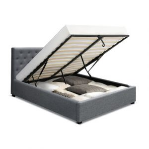 Artiss Vila Queen Size Fabric Gas Lift Bed Frame Base With Storage Grey BFRAME-E-VILA-Q-GY-AB