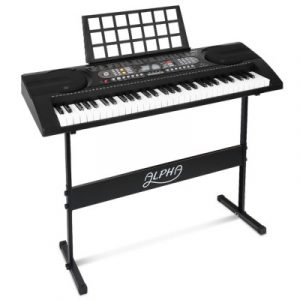 Alpha 61 Keys Electronic Piano Keyboard Electric Instrument Touch Sensitive Midi EK-JK-81-BK-H