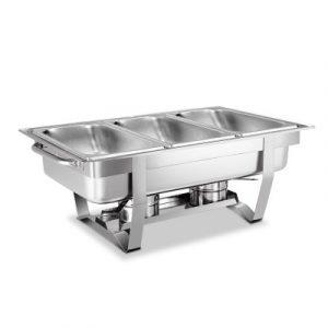 9L Bain Marie Bow Chafing Dish 3Lx3 Stainless Steel Food Buffet Warmer LF-DIN-DISH-9L-3PAN-SI