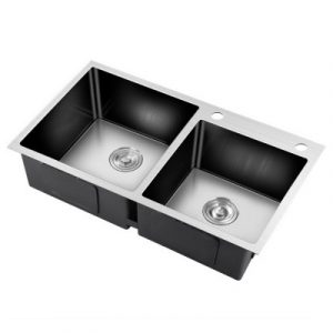 800x450MM Stainless Steel Kitchen Sink Under/Topmount Laundry Double Bowl Silver SINK-EC-8045-SI