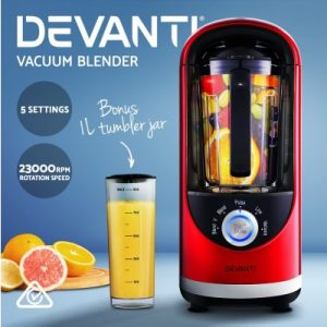 Devanti Commercial Vacuum Blender Juicer Mixer Food Processor Smoothie Red VCB-801-RD