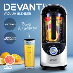 Devanti Commercial Vacuum Blender Juicer Mixer Food Processor Smoothie Silver VCB-801-SI