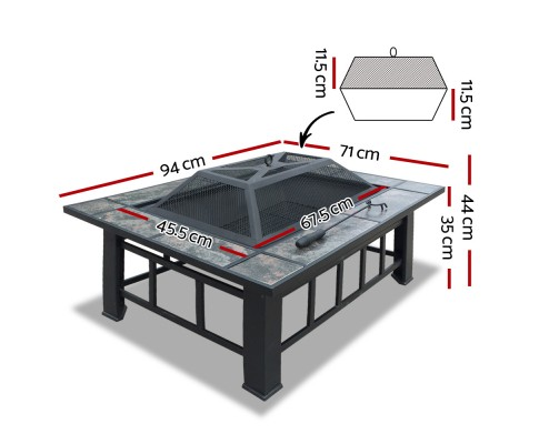 Fire Pit BBQ Grill Stove Table Ice Pits Patio Fireplace Heater 3 IN 1 FPIT-BBQ-3IN1-9444-ICE