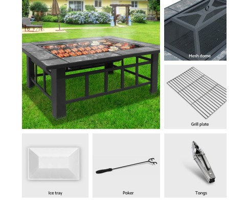 Grillz Outdoor Fire Pit BBQ Table Grill Fireplace with Ice Tray FPIT-BBQ-3IN1-9444-ICE