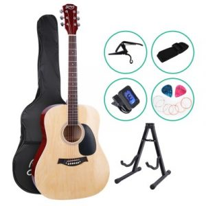Alpha 41 Inch Wooden Acoustic Guitar with Accessories set Natural Wood GUITAR-D-41-NAT-CAPO