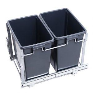 Devanti 2x15L Pull Out Bin Door Mount Kitchen Rubbish Bin Grey POT-B-30L-GY