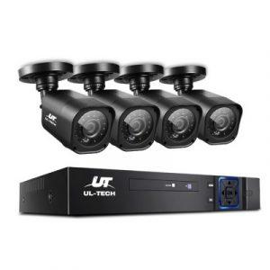 UL-TECH 4CH 5 IN 1 DVR CCTV Security System Video Recorder 4 Cameras 1080P HDMI Black CCTV-4C-4S-BK