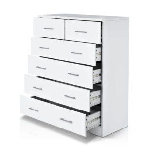 Artiss Tallboy 6 Drawers Storage Cabinet - White FURNI-NEW-DT-WH-AB