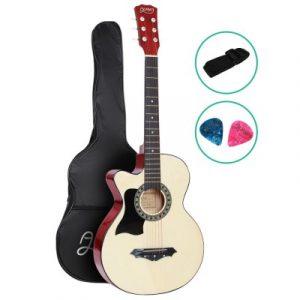 ALPHA 38 Inch Wooden Acoustic Guitar Left handed - Natural Wood GUITAR-D-38-NAT-LF