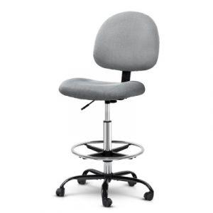 Artiss Office Chair Veer Drafting Stool Fabric Chairs Grey OCHAIR-G-RING-07B-GY